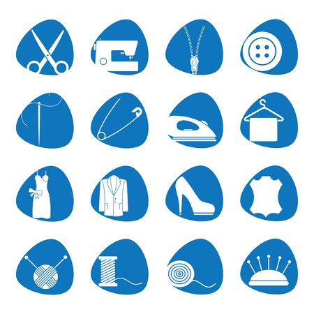 Illustration icons on sewing