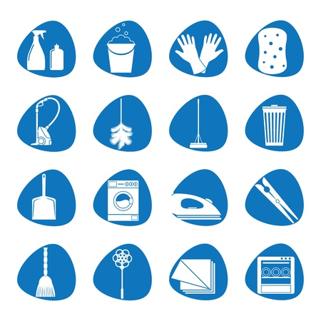mop: Illustration icons on cleaning Illustration