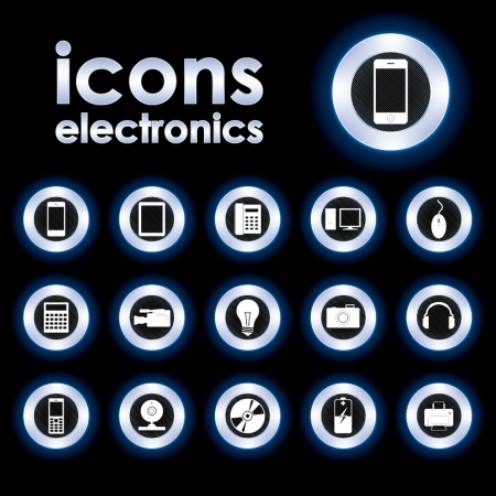 Vector illustration icons on electronics Vector
