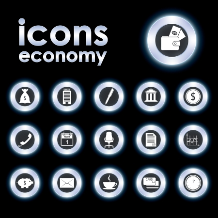 armchair shopping: Vector illustration icons on the econom
