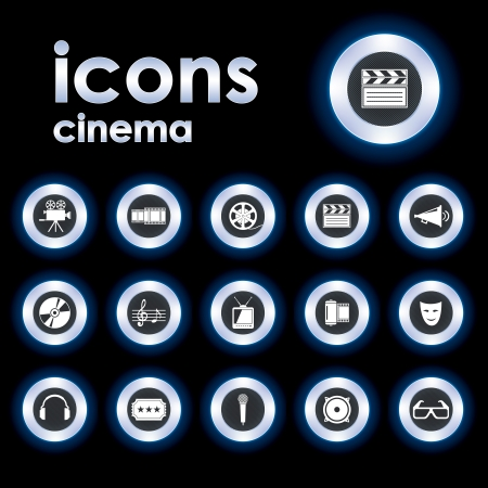 Vector Illustration of vector icons on Film Çizim