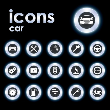 Vector illustration icons on the car