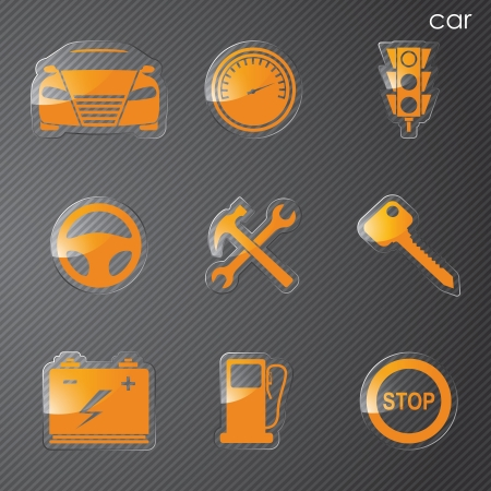 Vector illustration icons on transport