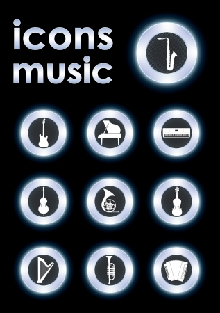 Vector illustration icons on musical instruments Vector