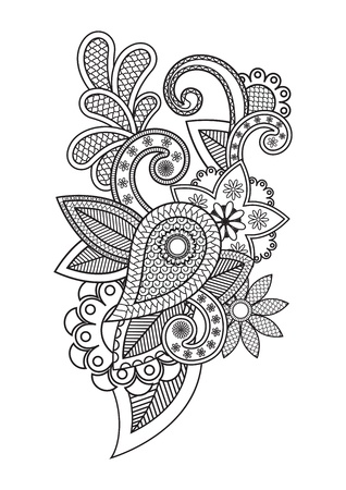 gothic revival style: Vector illustration of floral pattern
