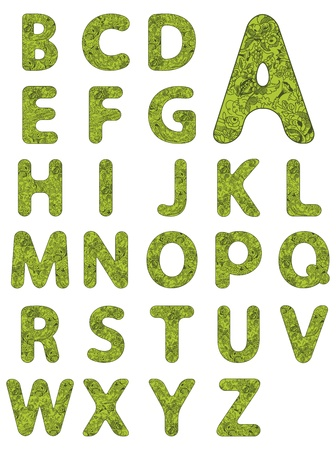old letters: Vector illustration of the alphabet