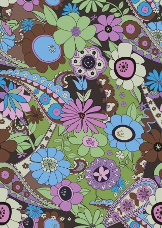 multi colors: Vector illustration of seamless floral background Illustration