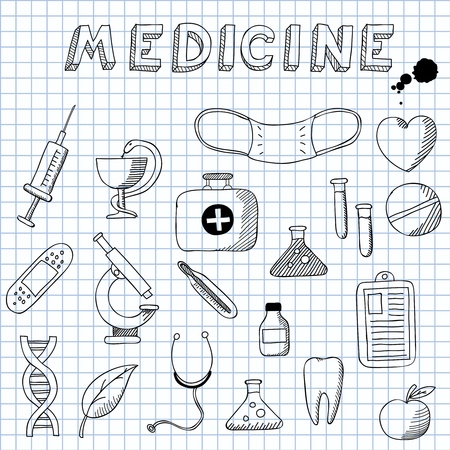 illustration of the images on the theme of Medicine Vector