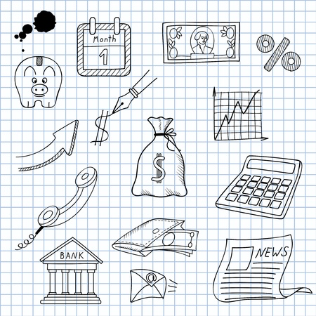 scribble: illustration of images on the economy
