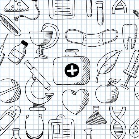 illustratie van naadloze structuur Medicine Stock Illustratie