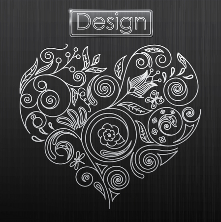 illustration of floral pattern in the shape of a heart Vector