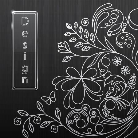 illustration of floral pattern on a black background Vector