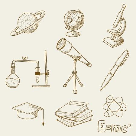 illustratie van voorwerpen op het onderwerp van de wetenschap Stock Illustratie