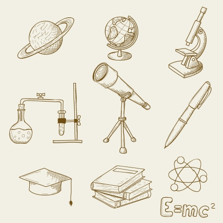 illustration of objects on the topic of science Vector