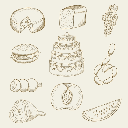 illustration of objects on the topic of food