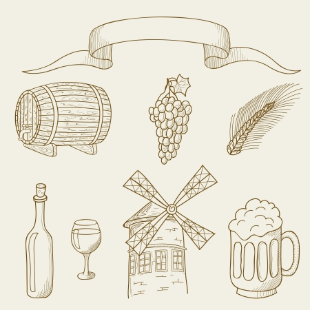 Vector illustration of objects on the topic of alcohol Çizim
