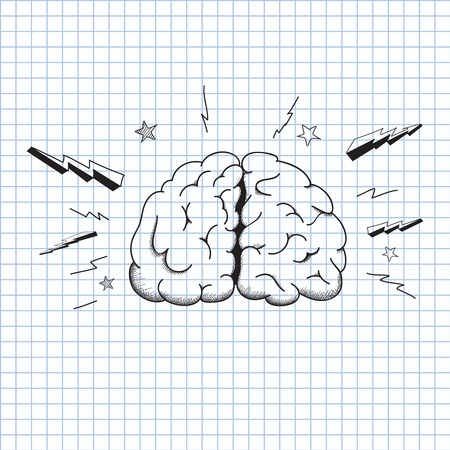 illustrationFoto van het brein op een vel papier