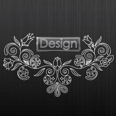illustratie van bloemen patroon op een zwarte achtergrond Stock Illustratie