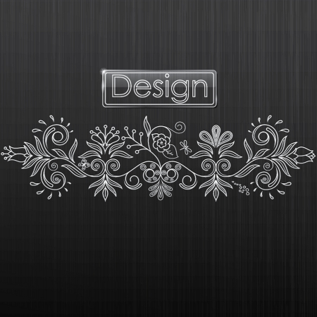 illustration of floral pattern on a black background Stok Fotoğraf - 14823091