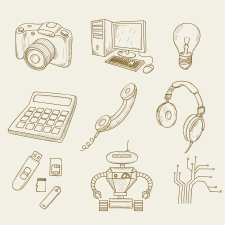 illustration of objects on electronics Vector