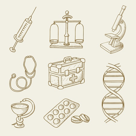 illustration of objects on the topic of medicine Stok Fotoğraf - 14823081