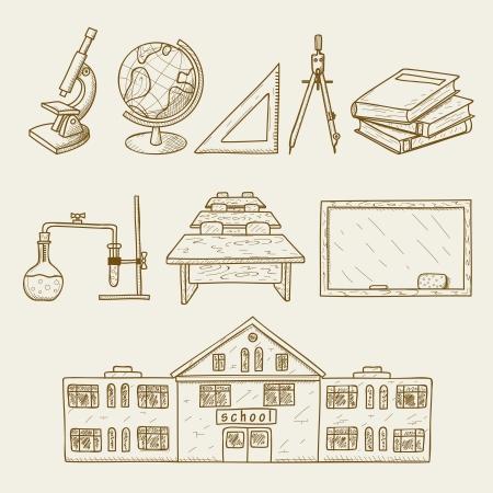 escuela edificio: Ilustraci�n vectorial de instalaciones en la escuela Vectores