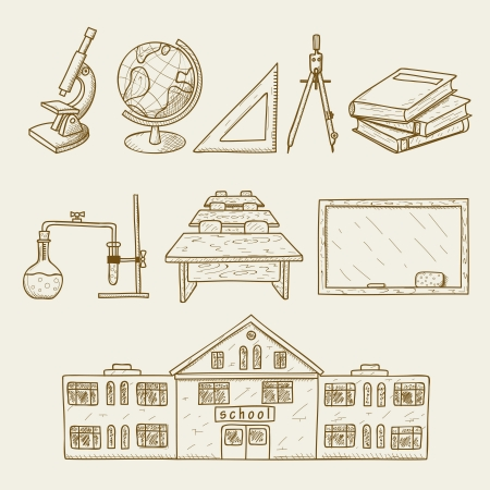Vector illustration of facilities on school