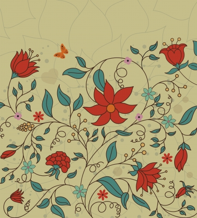 illustration of floral background made in retro style Çizim