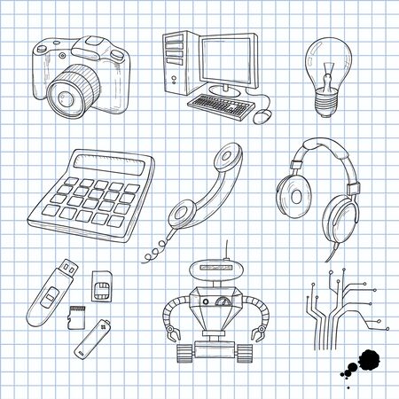 Vector illustration of objects on electronics Vector