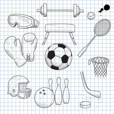 illustration of objects on the topic of sports Vector