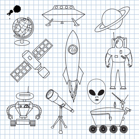 illustration on Space Objects Vector