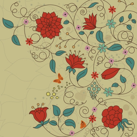 frizzy: illustration of floral background made in retro style Illustration