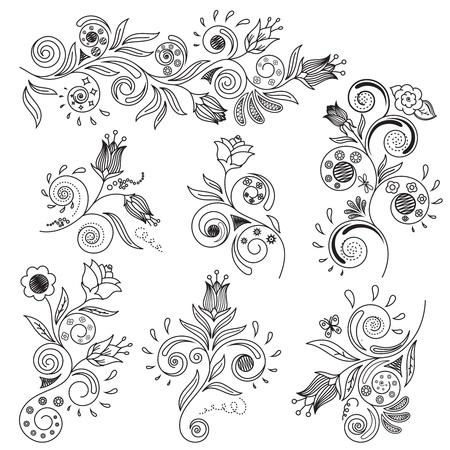 floral design:  illustration of floral design elements Illustration