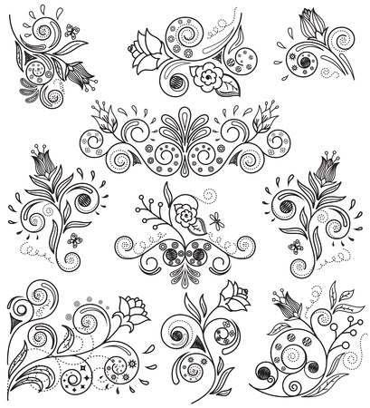 rose stem: Vector illustration of floral design elements Illustration