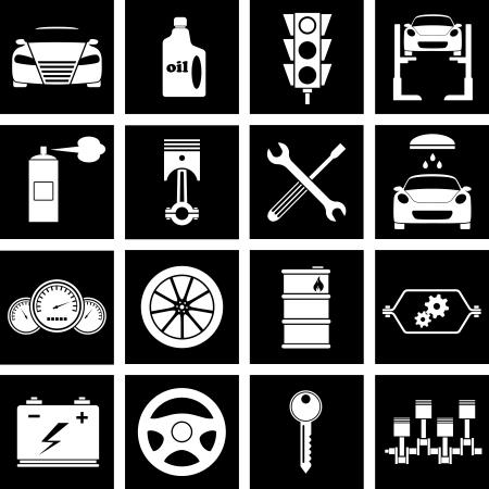 Vector illustratie van pictogrammen op de auto reparaties
