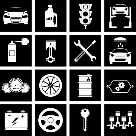 Vector illustration of icons on car repairs Çizim