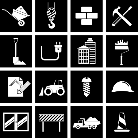 Vector illustration of icons on the topic of building Çizim