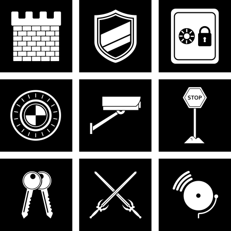 key board: illustration of icons on the topic of security Illustration