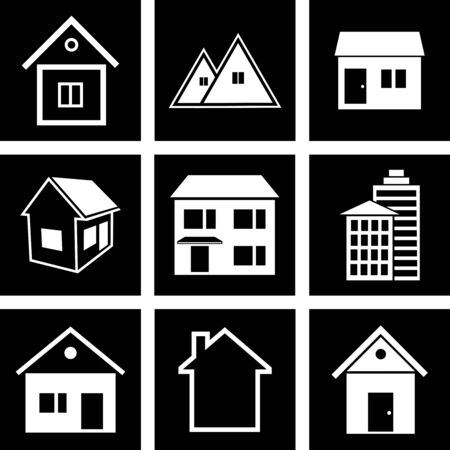 small group of objects: icons of houses
