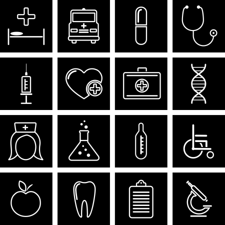stethoscope icon: Vector illustration of icons on medicine