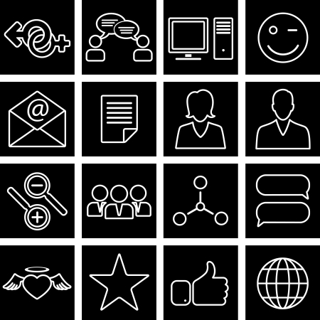 Vector illustration of icons on the topic of social network Vector