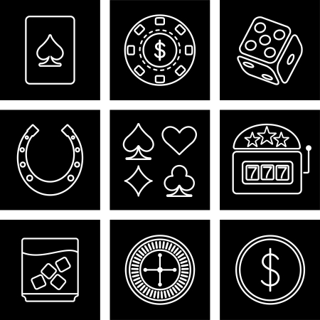 likely: Vector icons on the theme of the casino