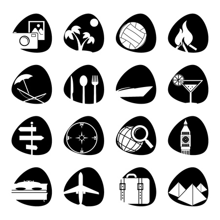 illustration of icons on the topic of tourism Çizim