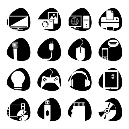 illustration of icons on electronics Vector
