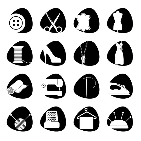 thimble:  illustration of icons on the subject of sewing