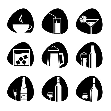 illustration of icons on the topic of drinks Vector