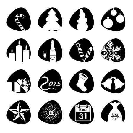 illustration of icons on the topic of the new year Stock Vector - 16196028