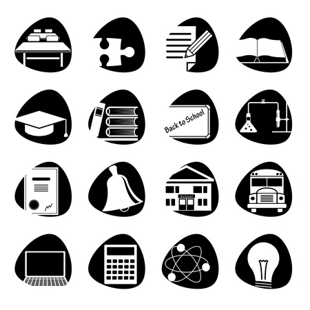atom icon:  illustration of icons on the topic of school