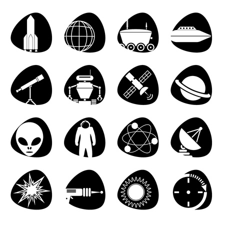 icons on the theme of outer space Vector