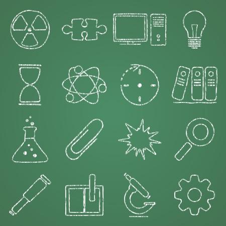 illustratie van pictogrammen op het onderwerp van de wetenschap